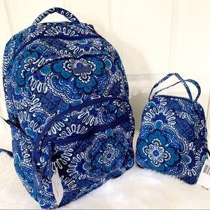 Vera Bradley essential backpack lunchbox blue set